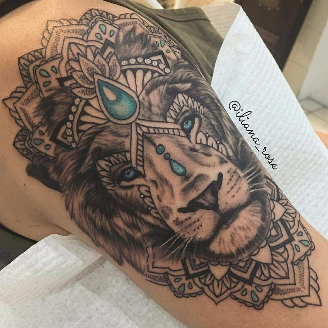 This Lion And Mandala Tattoo Combo Thigh Tattoos Women Tattoos Lion Tattoo