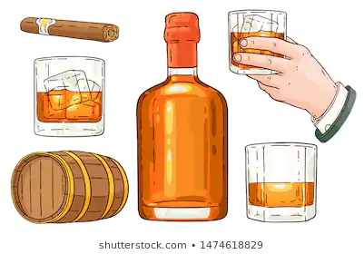 Whiskey And Cigars Stock Vectors Sketch Icon Icon Set Icon Set Vector