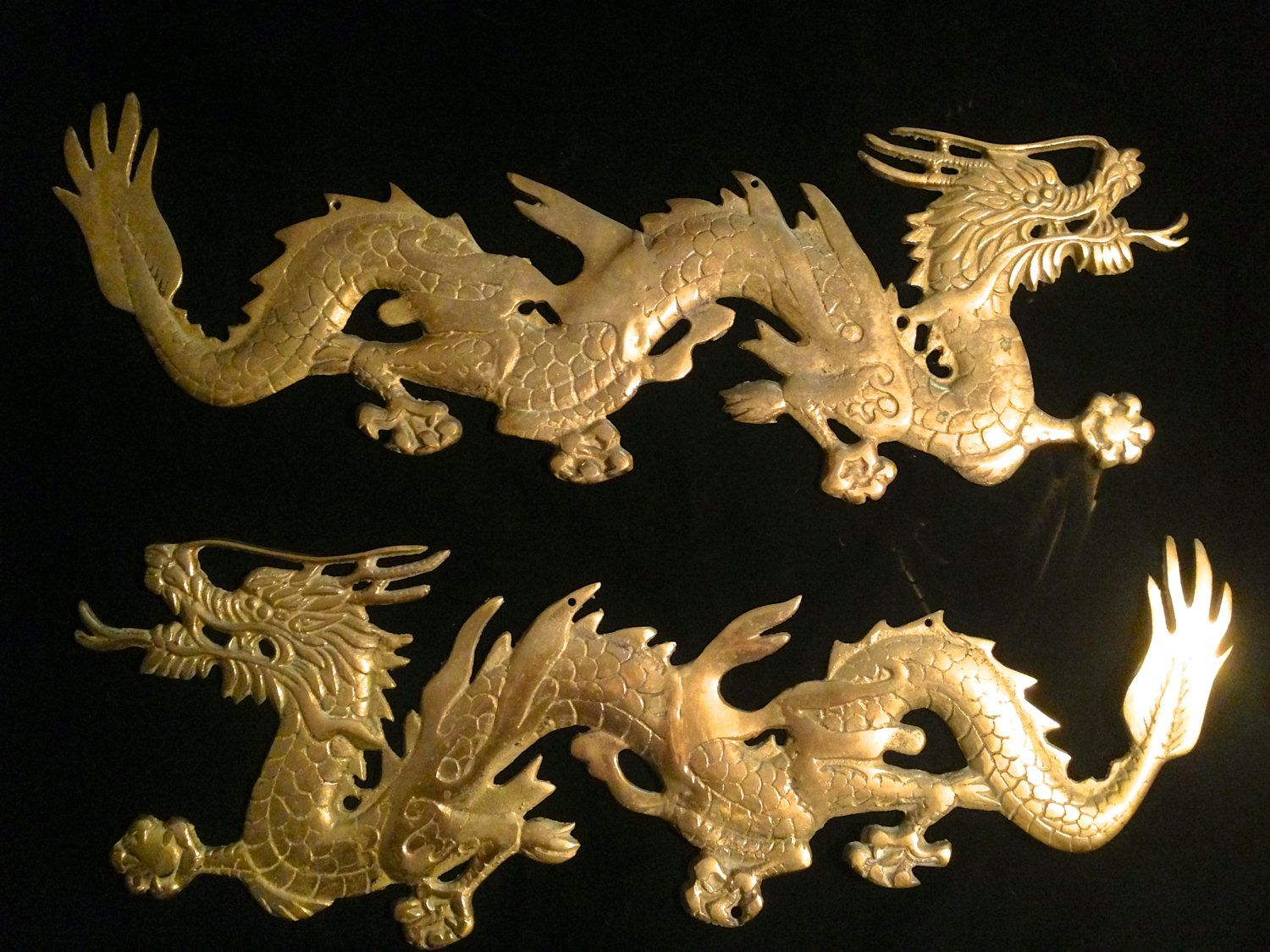 Two Large Vintage Mid Century Modern Br Dragons Asian Decor Wall Hanging Sculptures By Offcenterdesign7 On Etsy