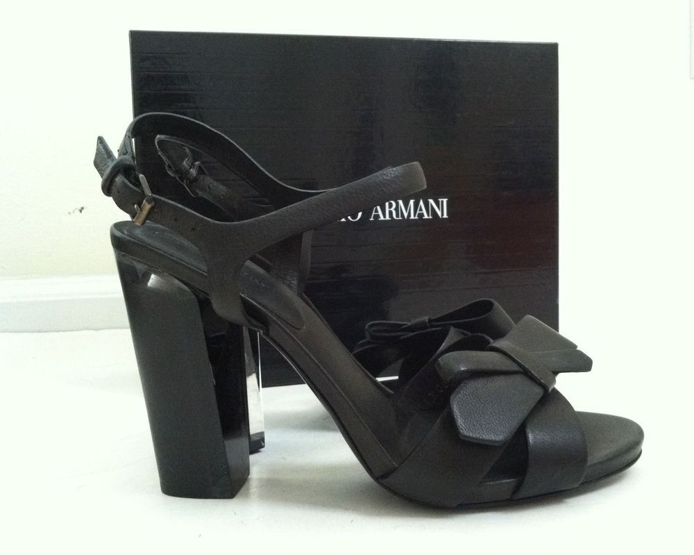 Giorgio Armani NIB $950 black leather bow strappy sandals clear heels 38 #GiorgioArmani #Strappy