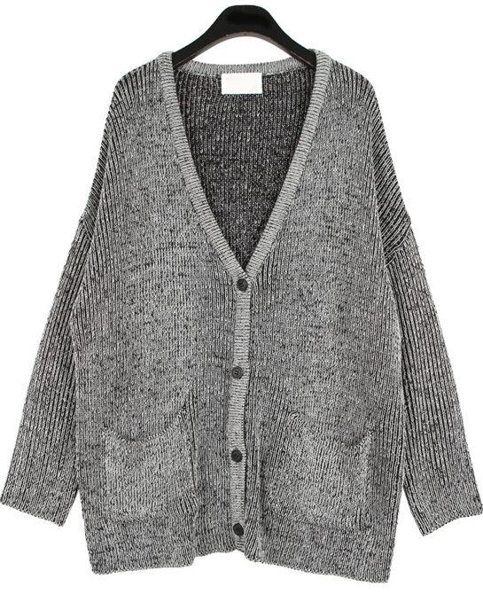 dd0d8ae4c0 Grey V Neck Long Sleeve Pockets Kint Sweater - Sheinside.com ...