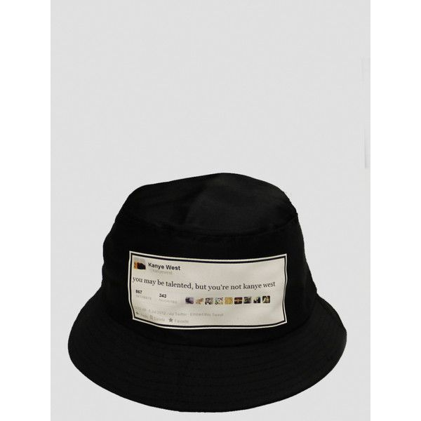 KANYE WEST Tweet Black Bucket Hat ( 8) ❤ liked on Polyvore featuring  accessories 62f36362c12f