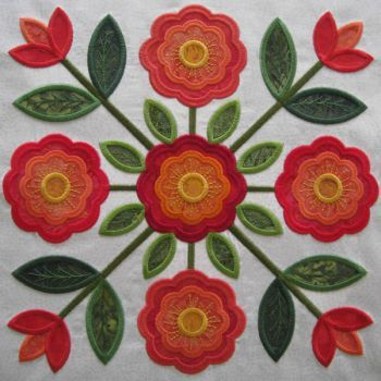 Design Information at KennyKreations - Beautiful Machine Embroidery: Traditions Rose of Sharon Quilt, Quilts
