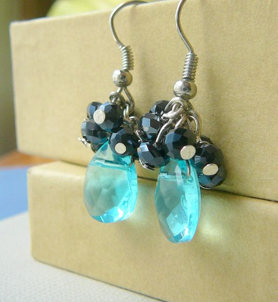 Teardrop earrings Gifts for her under 2000 Aqua by JewelrybyJMS, $20.00