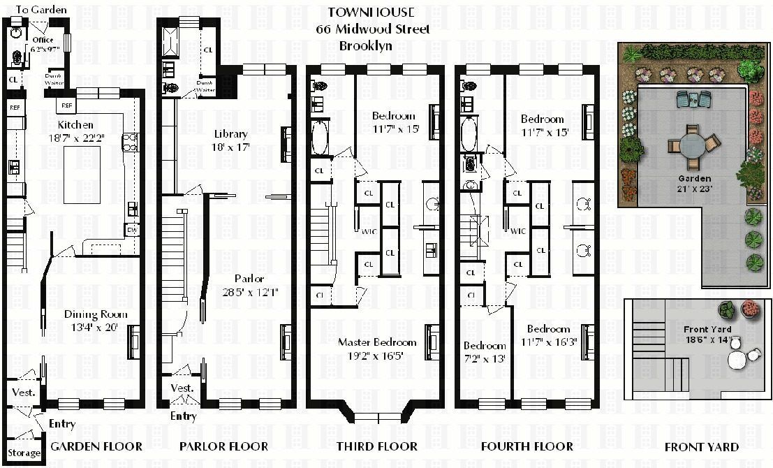 Park Slope Townhouse With Garage Asks 3 2m And More Town House Floor Plan Townhouse Nyc Townhouse
