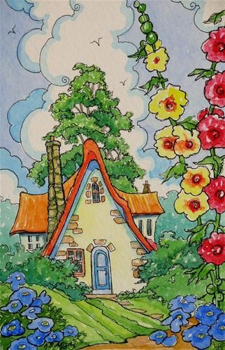 """Return to Hollyhock Cottage"" - Original Fine Art for Sale - © Alida Akers"