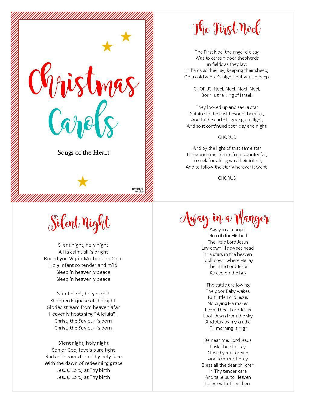 graphic relating to Printable Christmas Carols Booklet identified as CHRIST-Based Xmas CAROLS: No cost PRINTABLE Xmas