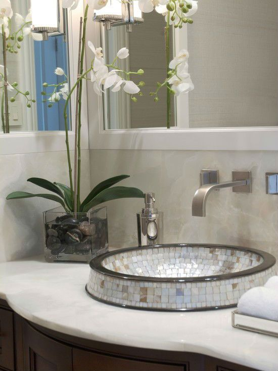 Linkasink Washbasin Mother Of Pearl Mosaic In A Powder Room Setting With  Modern Mixer