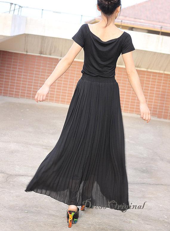 ee2e4eafb black skirt, Pleated skirt , Maxi Skirt, black full Skirt , custom made  skirt 16 colors available. Top quality ...
