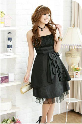 Damen Abendkleid schwarz Chiffon Cocktailkleid Ballkleid ...