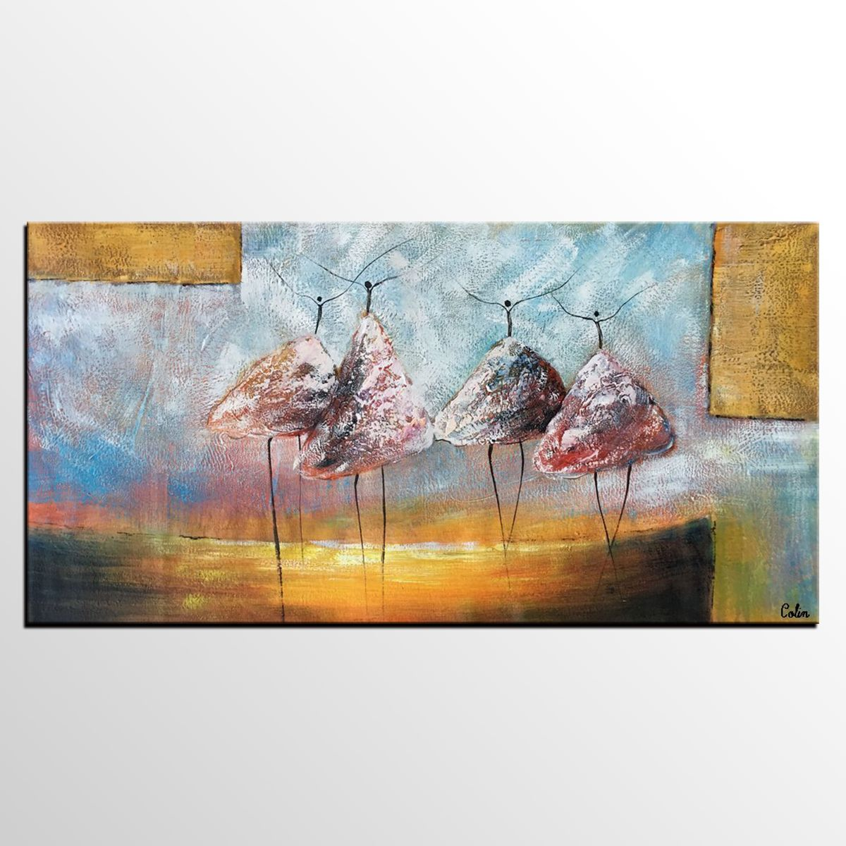 Abstract Painting Original Wall Art Ballet Dancer Canvas Dining Room