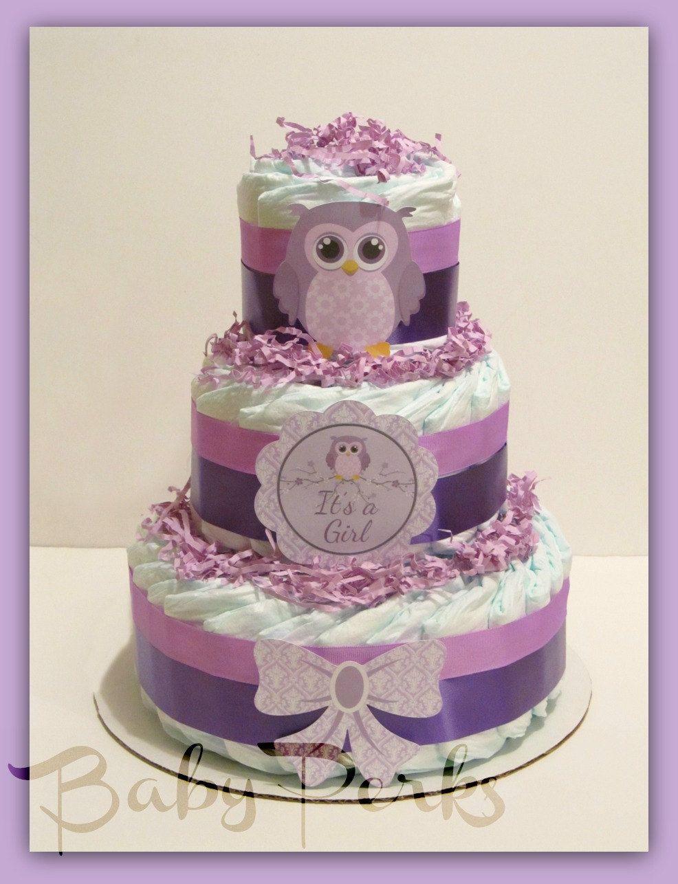 Vintage Baby Shower Decoration Owl Diaper Cake Purple Owl Baby Shower Owl Baby Shower Vintage