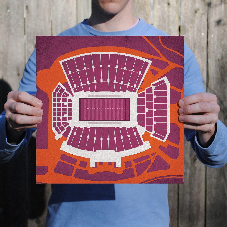 Lane Stadium Virginia tech, Prints, Map art