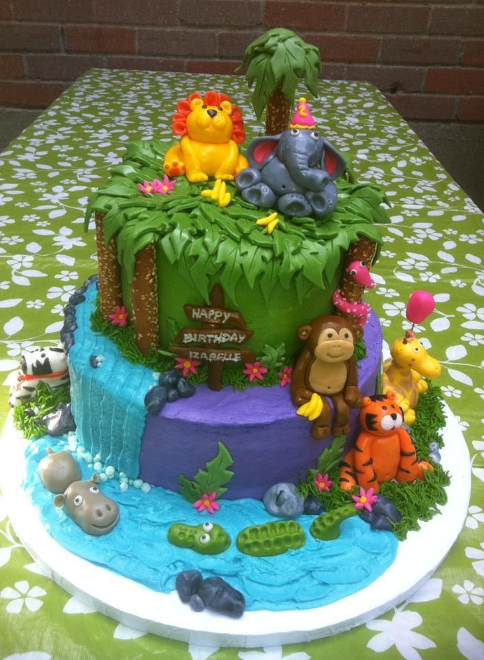 My Girls 2nd Birthday Cake Jungle Theme