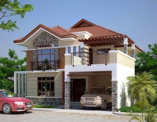 33 Desain Inspiratif Rumah Dengan Model Balkon Terbuka 1000 Inspirasi Desain Arsitektur Double Storey House 2 Storey House Design Double Storey House Plans
