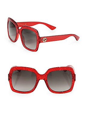88a85b6233c5 Gucci 54MM Oversized Glitter Square Sunglasses - Red | Products ...
