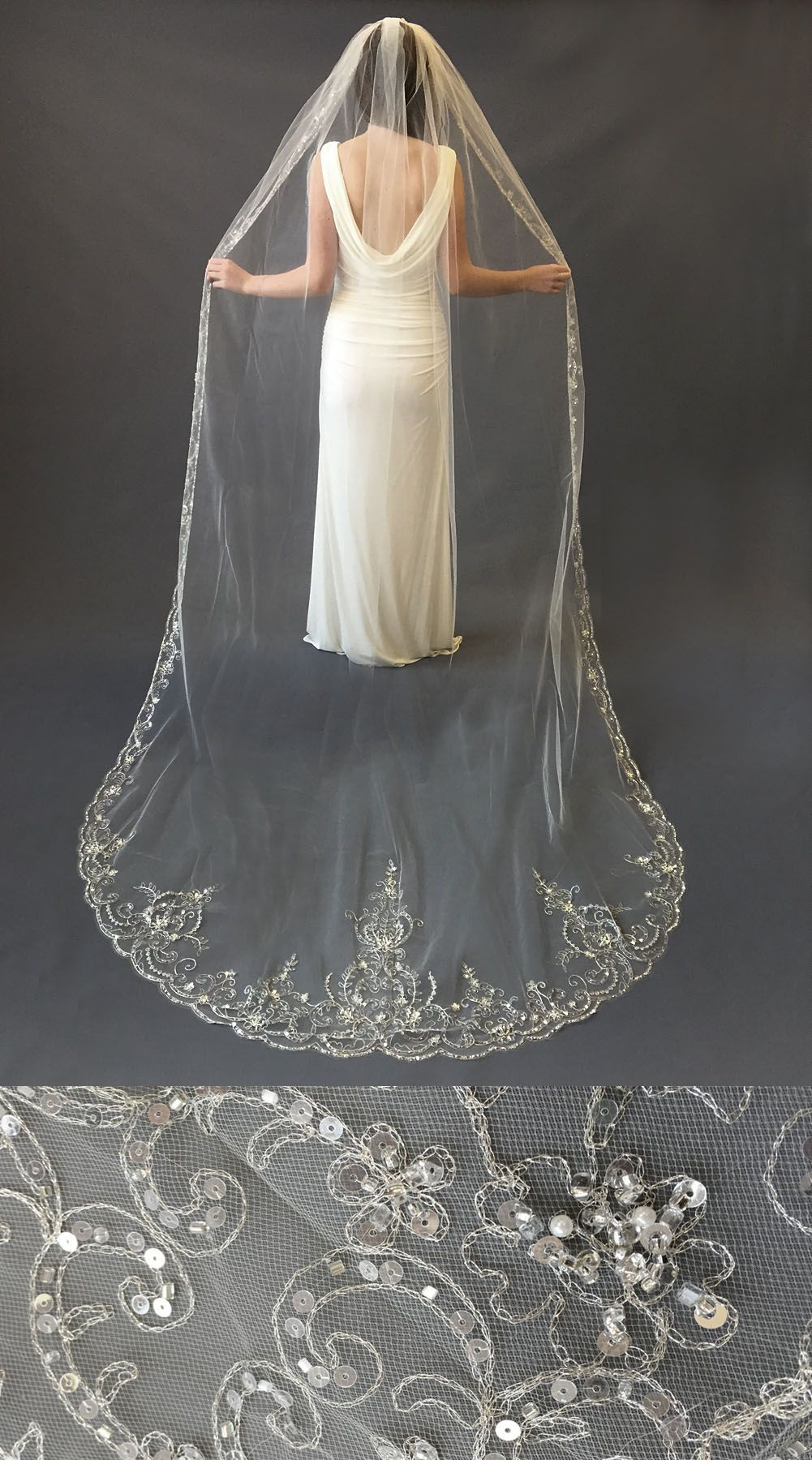 1Layer, Extravagance Crystal Beaded Cathedral Veil