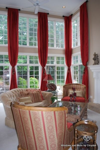Two story windows story panels on short rods with - Long or short curtains in living room ...