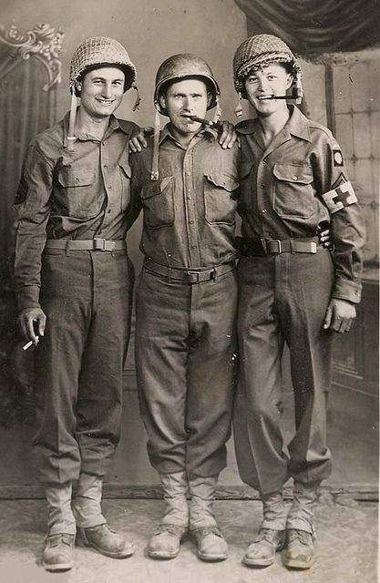 82nd Airborne Combat Medics in a posed picture taken somewhere in Italy 1943