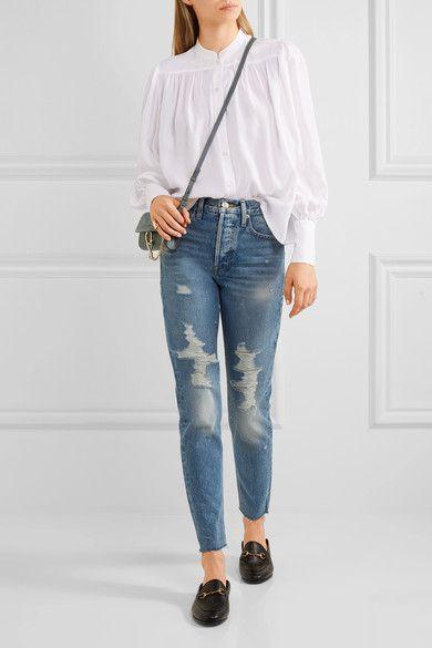 Rigid Re-release Le Original Skinny Distressed High-rise Jeans - Light denim Frame Denim nxzxR3V
