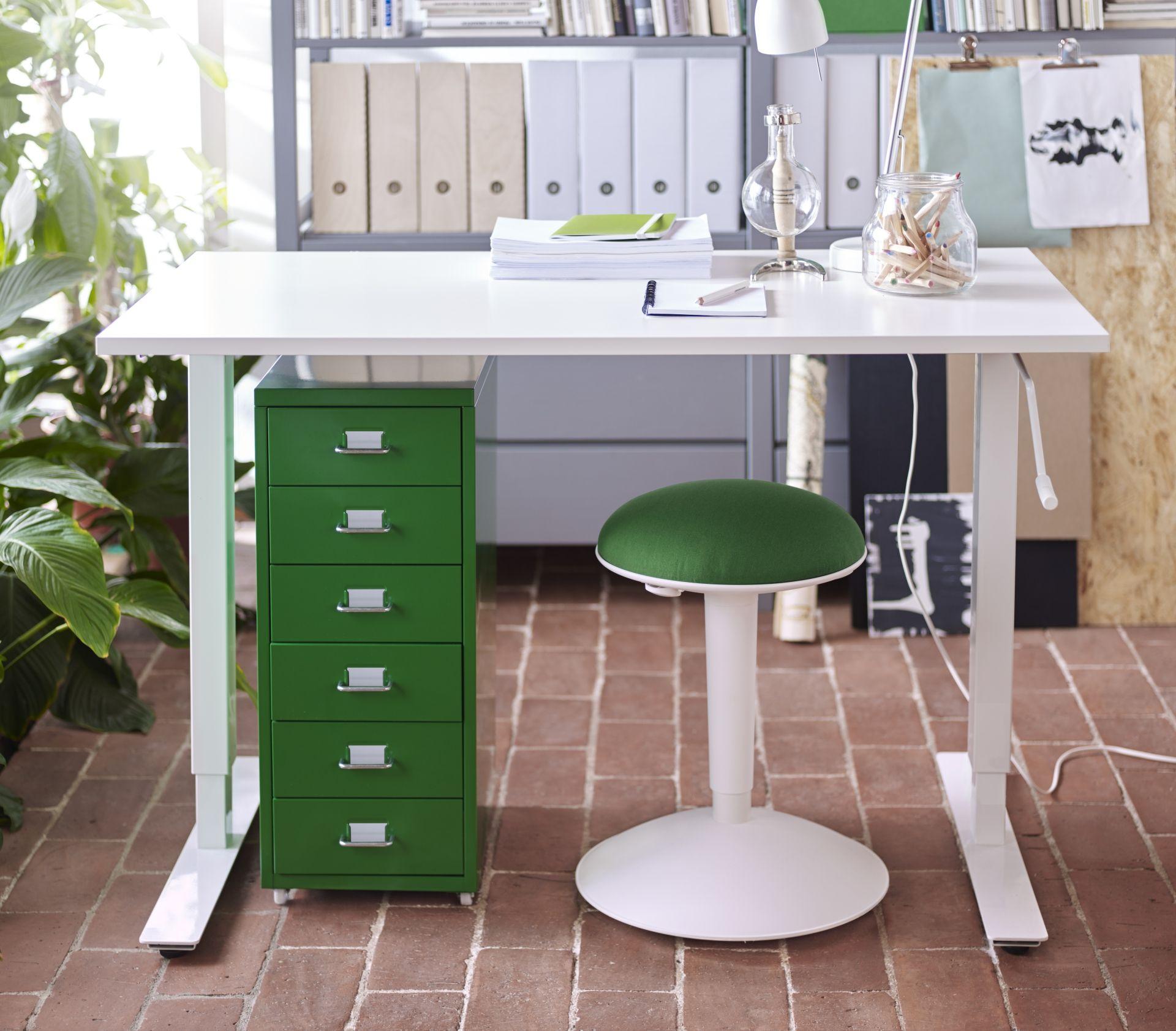 Zit Sta Stoel Ikea.Skarsta Bureau Zit Sta Wit Werkplekken Schreibtisch