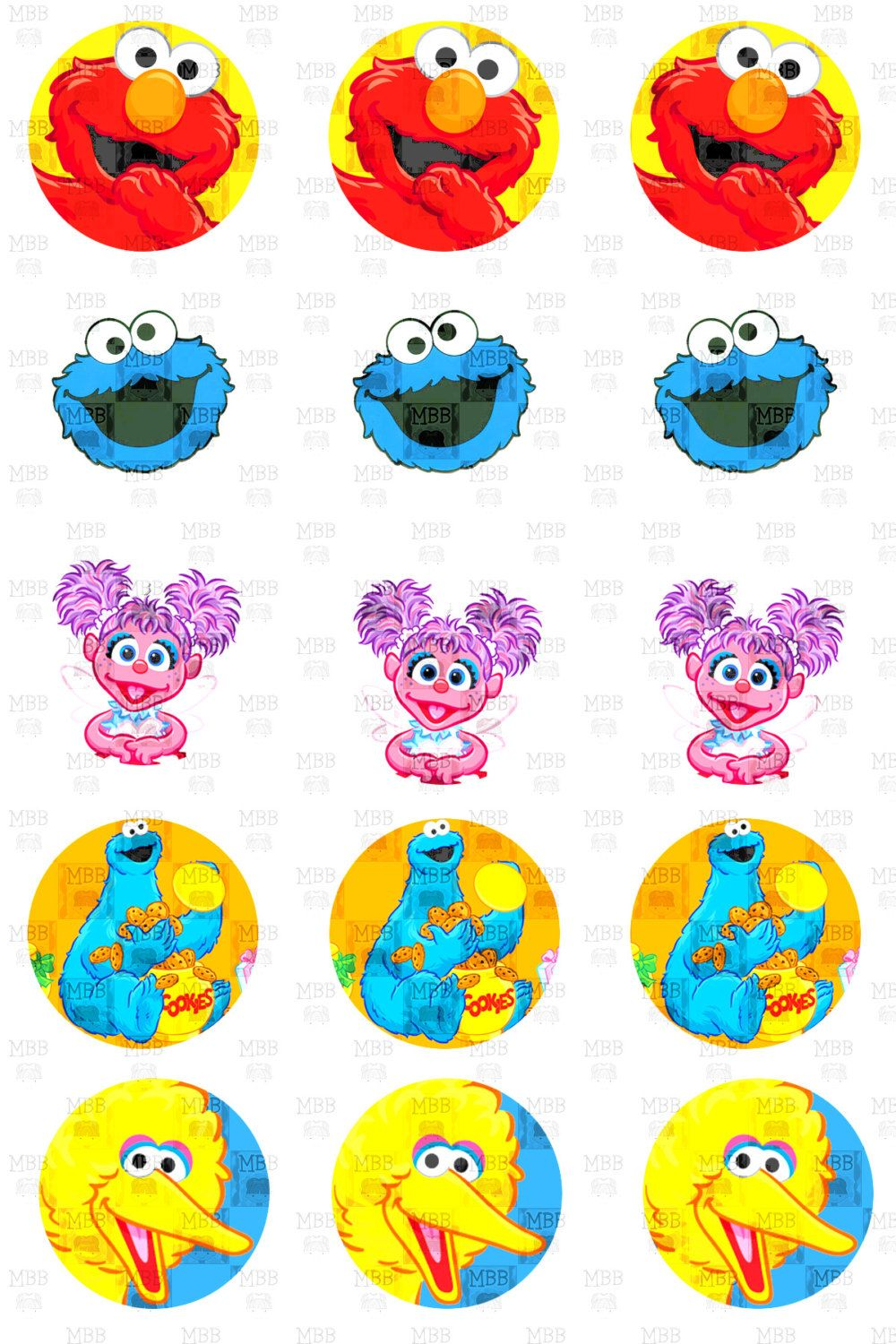 Sesame Street Big Bird Elmo Cookie Monster Abby Cadabby Digital