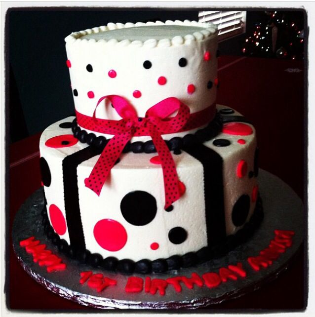 Hot Pink Black Polka Dot Birthday Cake Girls Teenager Woman