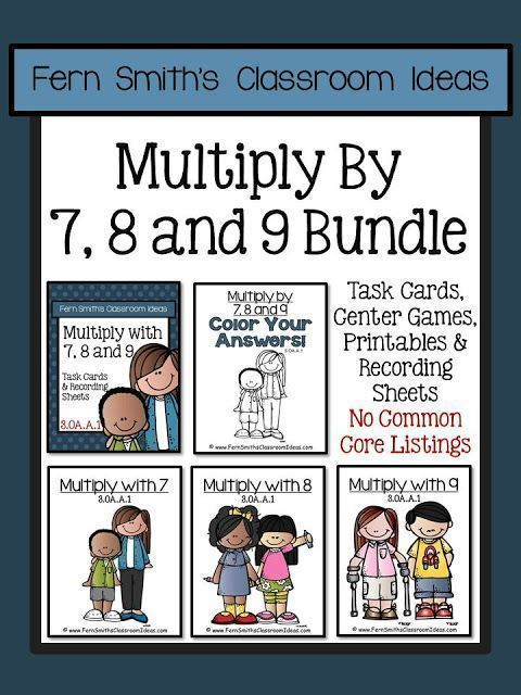 BUNDLE: Multiply with 7, 8 and 9 Task Cards, Recording Sheets, Center Games, Color Your Answers Printables and Answer Keys with a cute Kid and Cupcake Theme with No Common Core Listings. {Multiplication of Seven, Eight and Nine} #TPT $Paid