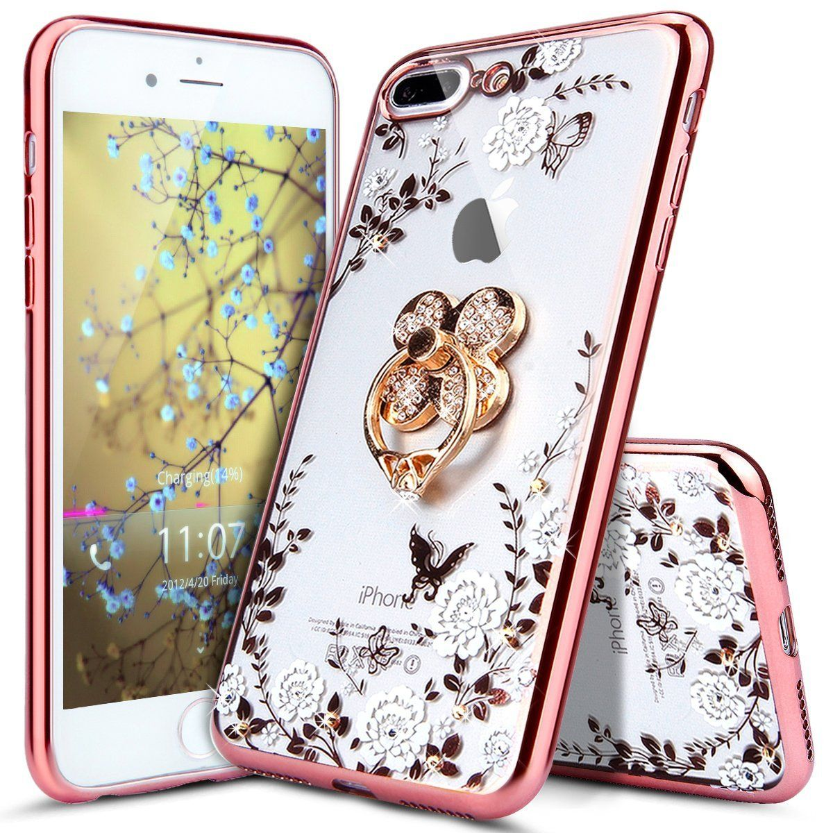 Iphone 8 Plus Case Iphone 7 Plus Case Ikasus Glitter Crystal Plating Butterfly Floral Bling Diamond Rhinestone White Rose Gold Rose Gold Butterfly Clover Ring