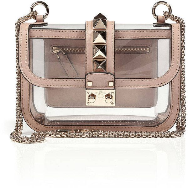843bdcfa45a4 Valentino Rockstud Clear Plastic Studded Bag - Clear Transparent... ❤ liked  on Polyvore featuring bags