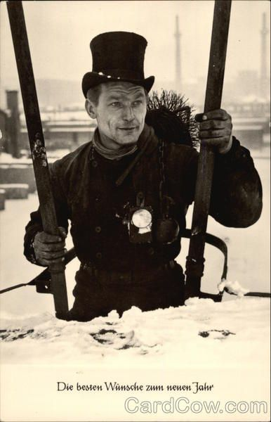 Best Wishes For The New Year Chimney Sweep In Snow Chimney Sweep Sweep Vintage Pictures
