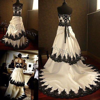 2015 A Line White And Black Lace Bridal Gowns Gothic Plus Size