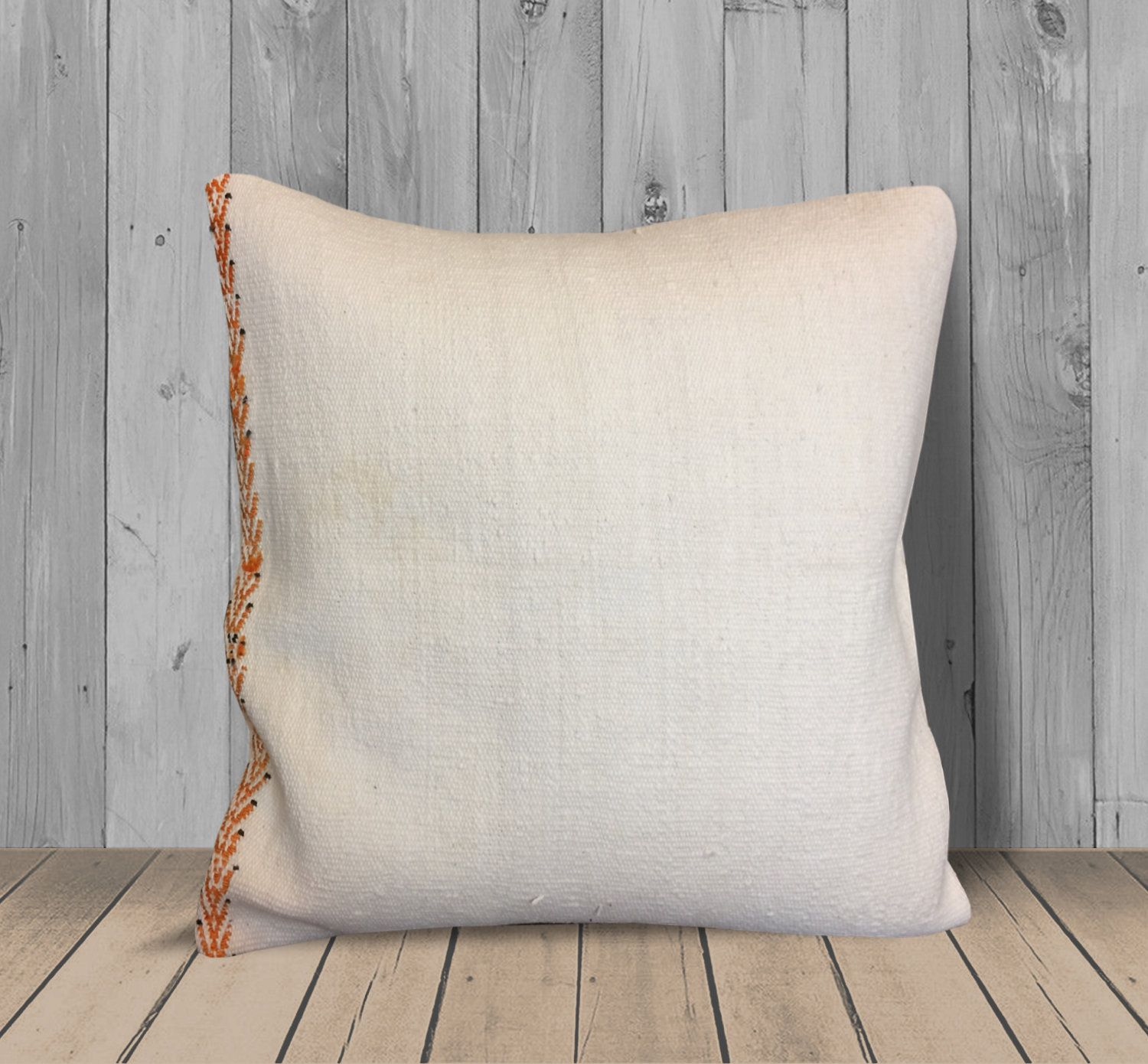 Brilliant White Orange Turkish Kilim Pillow 20X20 Cushion Throw Gmtry Best Dining Table And Chair Ideas Images Gmtryco