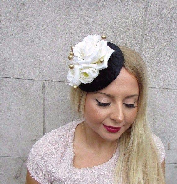 Black Gold Ivory Cream Velvet Rose Berry Flower Fascinator Hat Hair Clip 2591 #fascinatorstyles