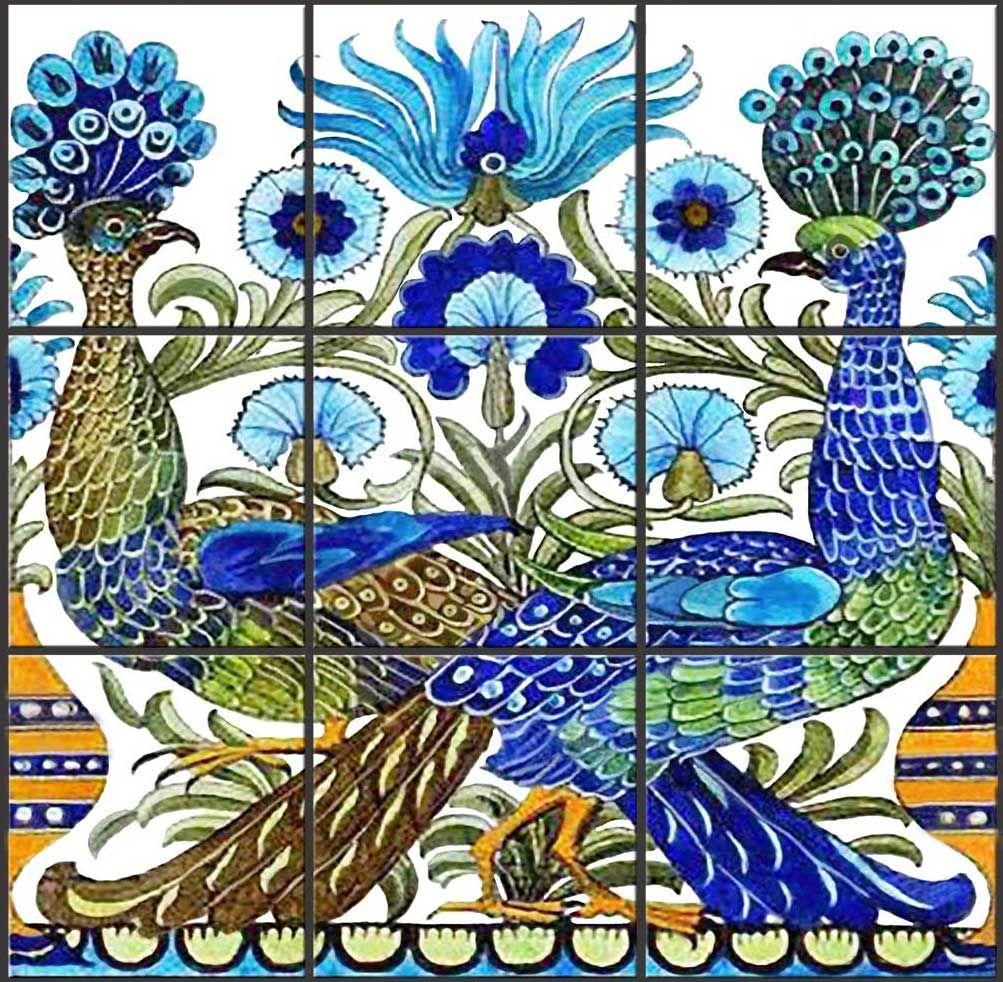 De Morgan Cross Tailed Peacock Backsplash