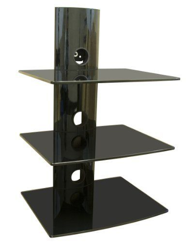 Ematic Tempered Glass Shelf Wall Mount Kit for Entertainment System Components