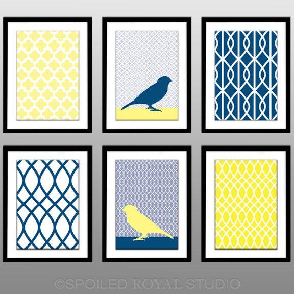 Bright Yellow Navy Blue Birds - Set of 6 Pattern Prints