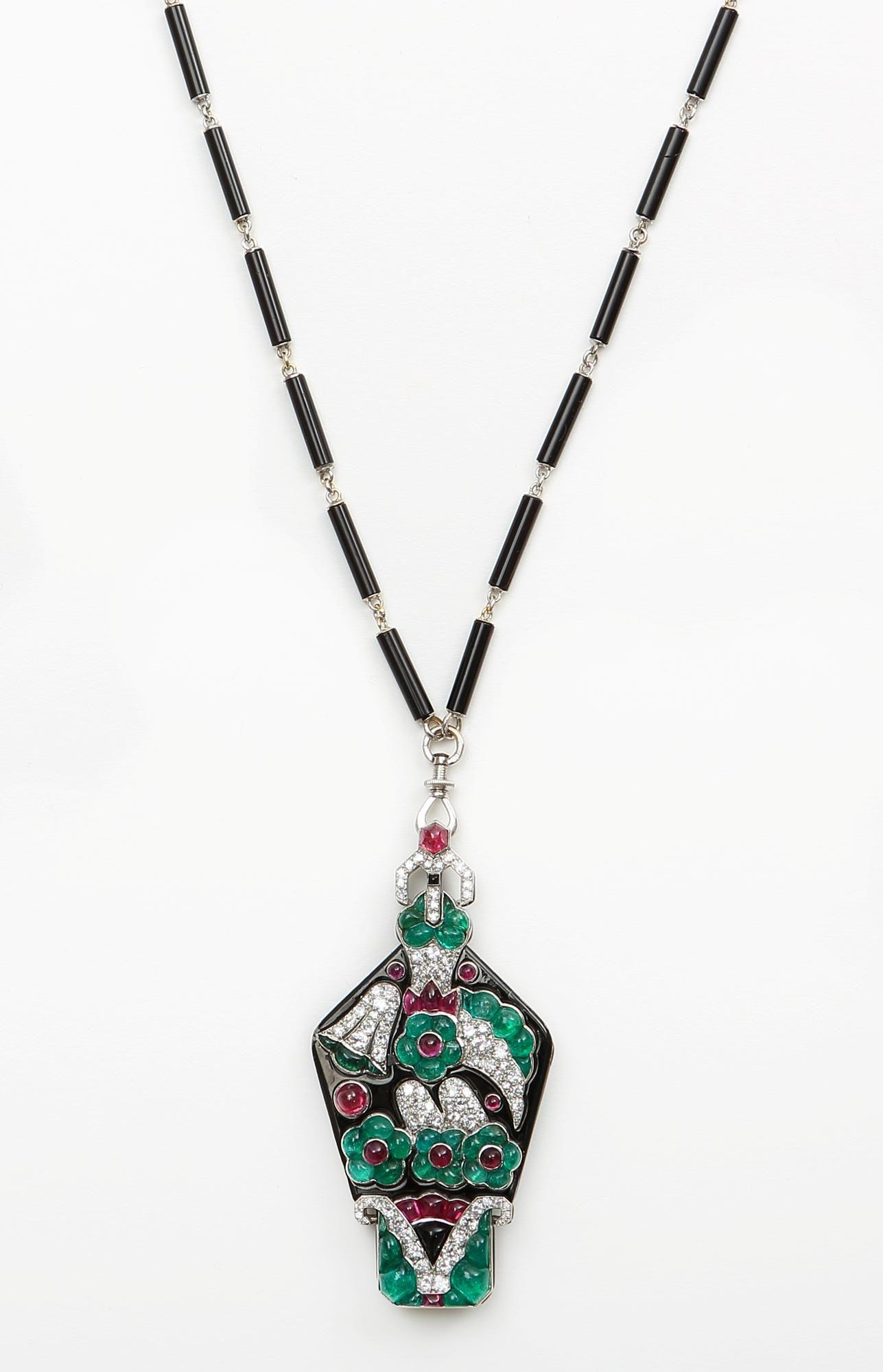 Art deco necklacelorgnette by mauboussin in enameled platinum set