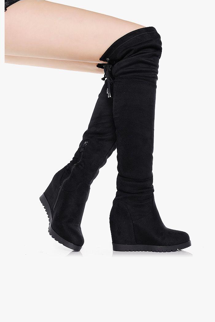Kozaki Wygodne Czarne Koturny Zamsz Boots Fashion Over Knee Boot