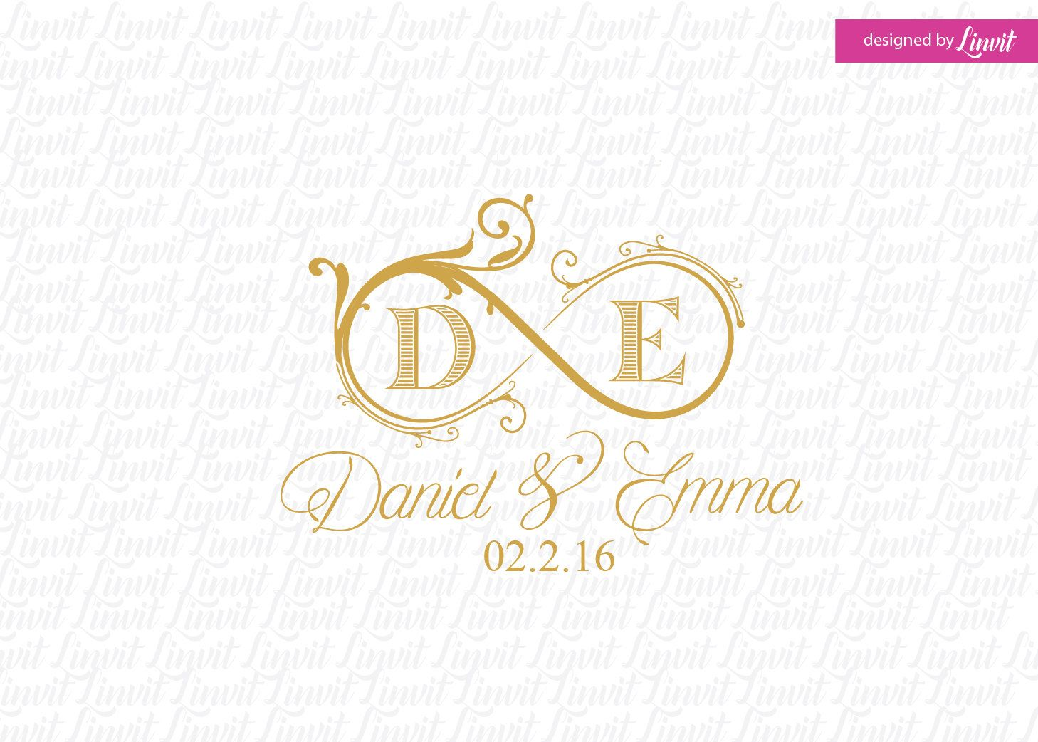 Infinity Wedding Monogram Wedding Logo Wedding Crest