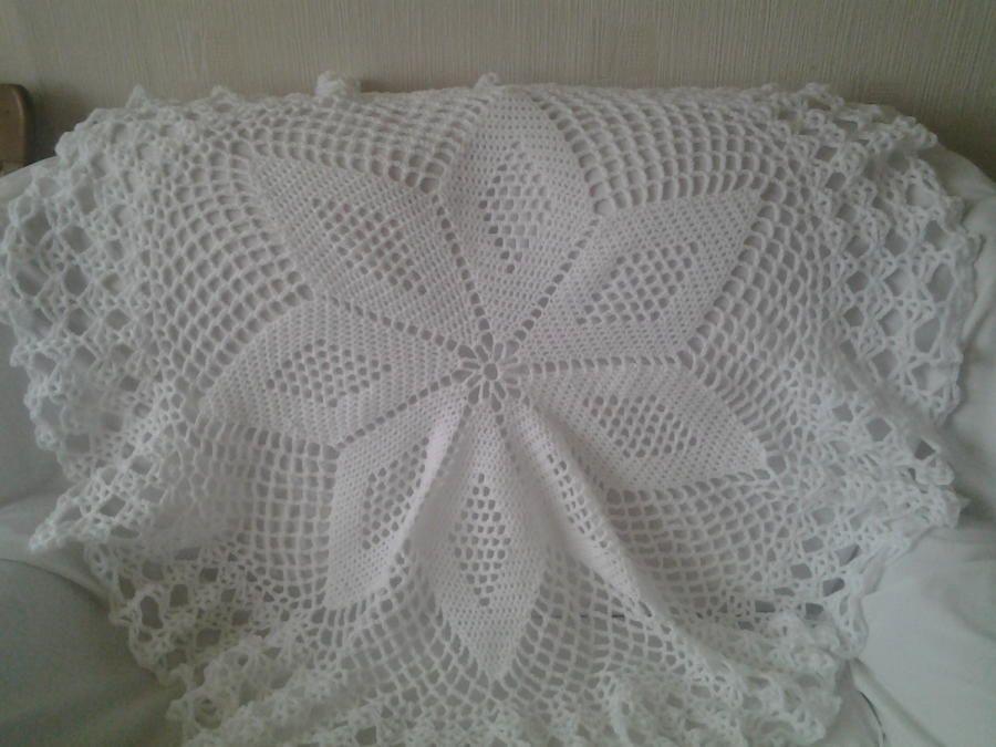 Star Design Circular Heirloom Baby Shawl Crochet