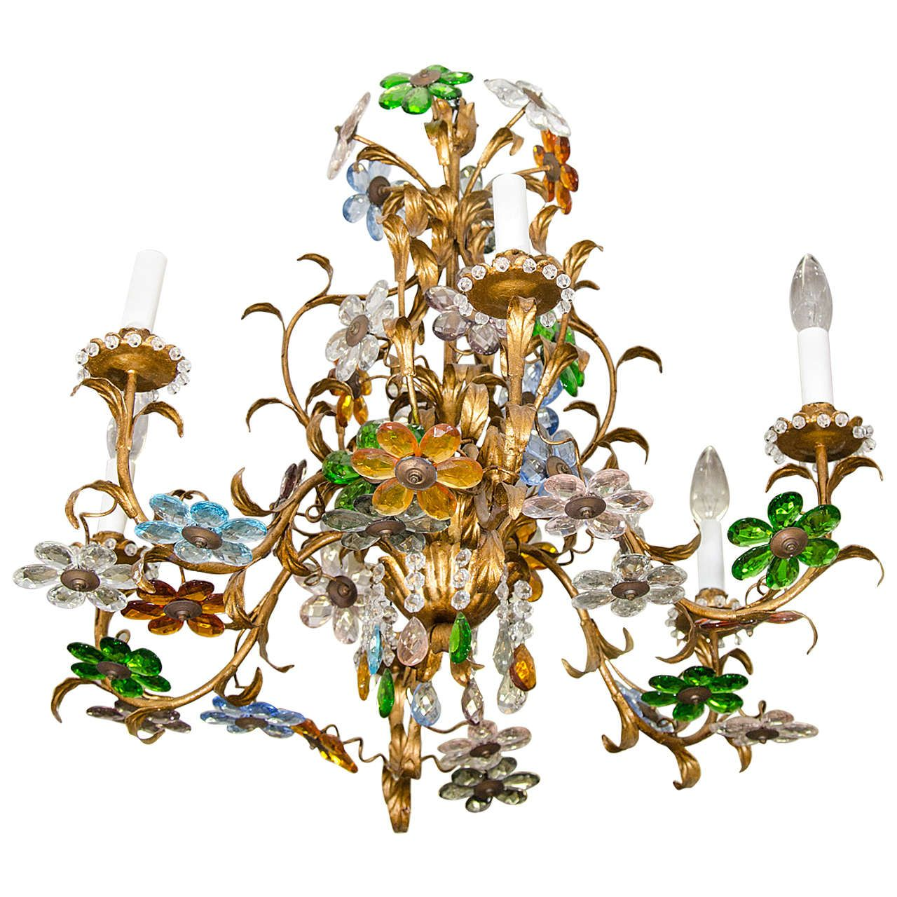 Midcentury Italian Chandelier With Multicolored Crystal Flower Cers