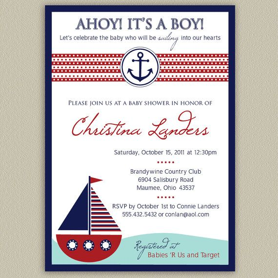 ahoy it's a boy nautical baby shower invitation by doubleudesign,