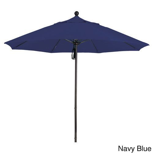 California Umbrella 9' Rd. Frame, Fiberglass Rib Market Umbrella, Push Open, Bronze Finish, Olefin Fabric