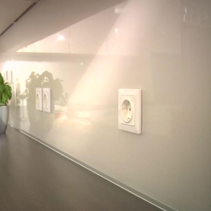 Spritzschutz Herd Spüle Glas rückseitig lackiert weiss Wandschutz - spritzschutz küche glas