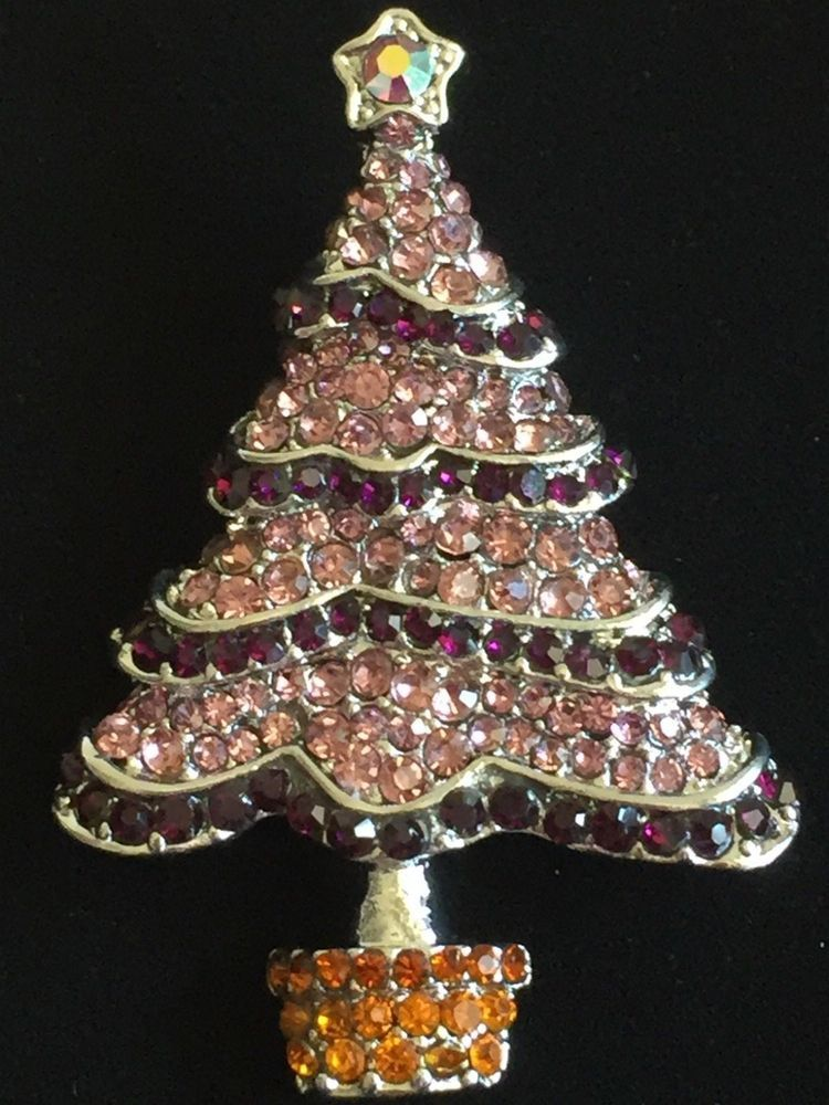 Details about SILVER BROWN MULTI PURPLE RHINESTONE CHRISTMAS TREE ...