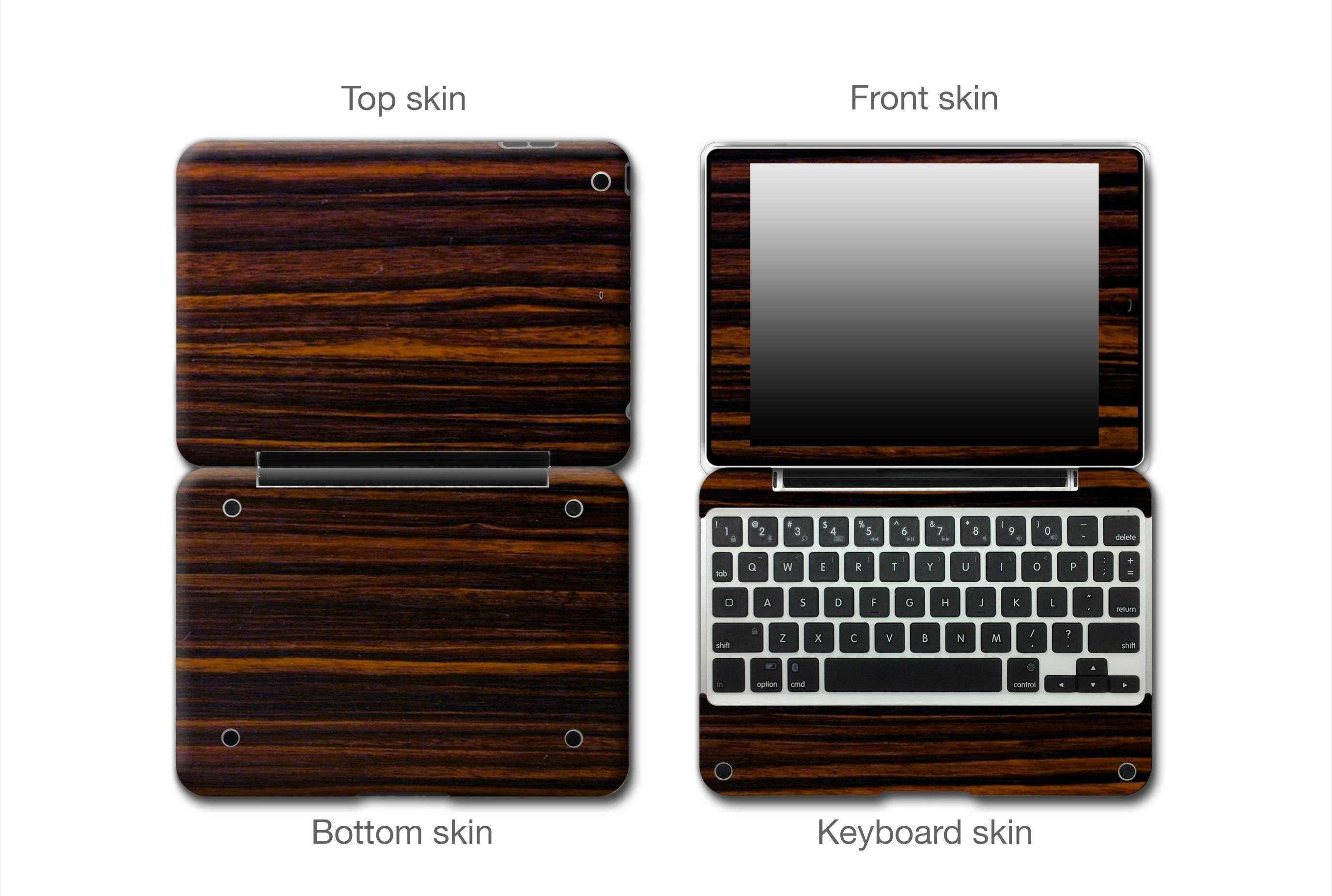 Ebony Wood #ClamCasePro #Pro #iPad #iPadMini #Apple #Tablet #Tablets #Computers #Keyboard #Gadget #Gadgets #Electronics #Electronic #Shield #Shields #Protector #Protectors #Decals #Skin #Skins #Wrap #Wraps #Vinyl #3M #Wood #Mahogany #Ebony #Kyrobe #Persimmon #Walnut