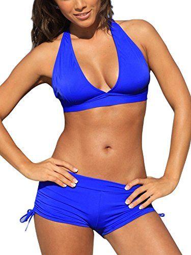 729c18616 Zando Push Up Two Pieces Bikini with Boyshort Athletic V Neck Swimsuit  Vintage Halter Back Swimwear Bathsuit for Women