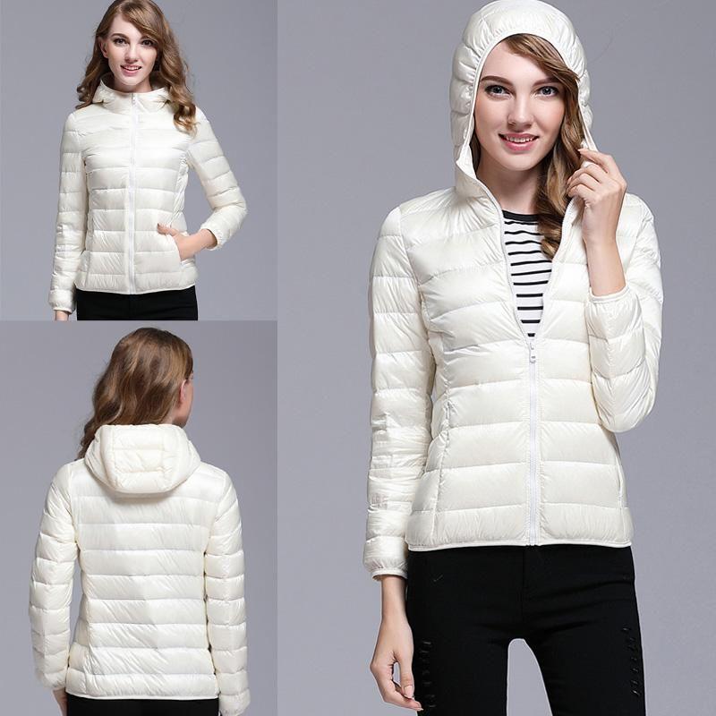 Fancy Girls Women Winter Long Jacket Coat Ultra Light White Duck Down Parka Warm Down Jacket Outwear