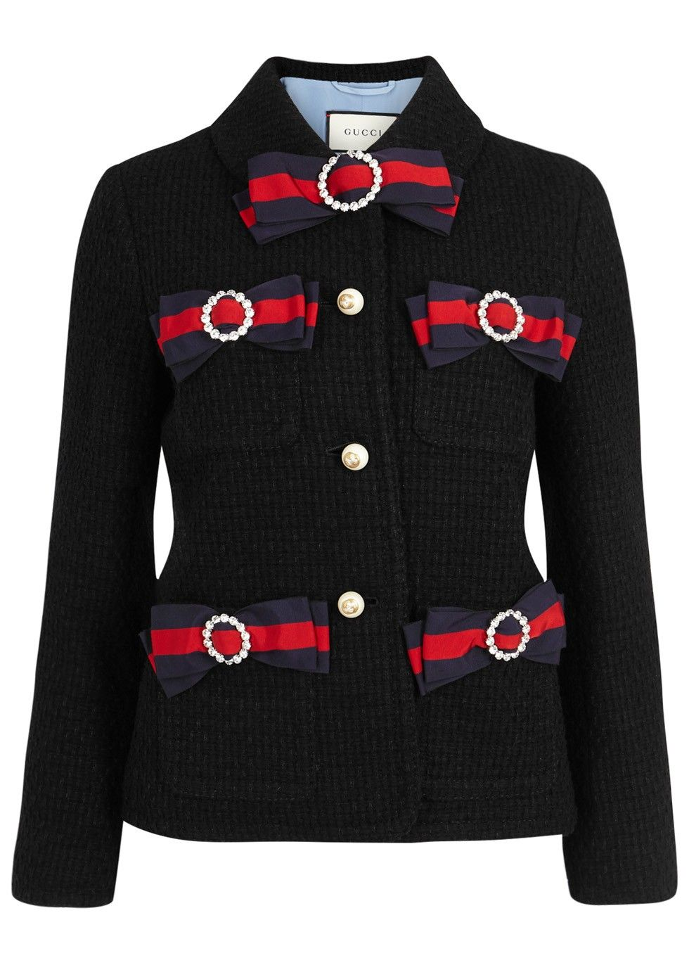 125df697a Gucci black tweed jacket Cropped, crystal-embellished and signature striped  grosgrain bows. www.italianist.com
